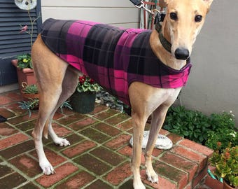 Greyhound Dog Coat & Jacket, Hot Pink, Black, Dove Gray and Charcoal Gray Plaid Fleece with Black Fleece Lining