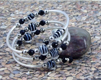 Black and White Glass Bead Zebra Print Coiled Wrap Bracelet Free Earrings With Purchase