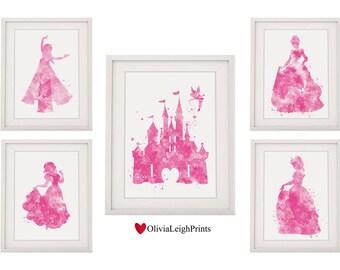 Set Of Five Disney Princess Prints Castle Belle Snow White Cinderella Elsa