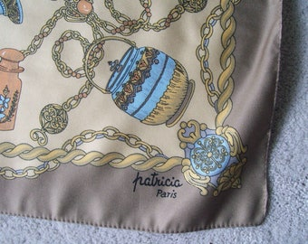 Vintage Designer Scarf Signed Patricia Paris Ladies Fashion Scarf n Hand Rolled Blue Beige Iconic Ladies Accessories