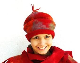 Felt Hat Handmade Felted Merino wool - Red
