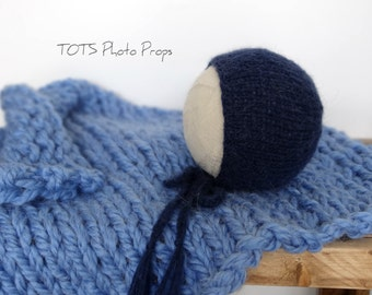 Sky Blue Super Chunky Newborn Mini Blanket Layer/ Mat/ Basket Stuffer Photo Prop and Alpaca Bonnet Set, READY TO SHIP