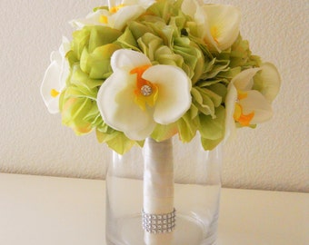 Ivory Orchids and Green Hydrangea Bridal Bouquet with Rhinestone Accent