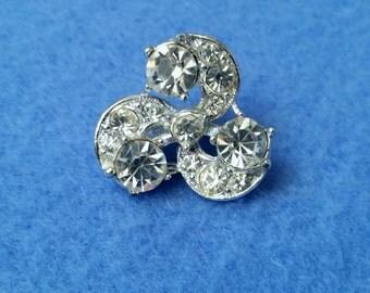 Vintage Rhinestone Swirl Brooch Pin, small costume crystal jewelry