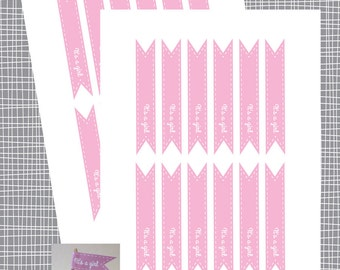 INSTANT DOWNLOAD It's A Girl Cupcake Flags- Baby Shower Toppers - Straw Flags - DIY Printable File (Not a Physical Item)