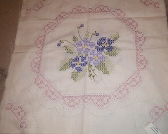 2 Hand Embroidered Quilt Blocks VIOLETS
