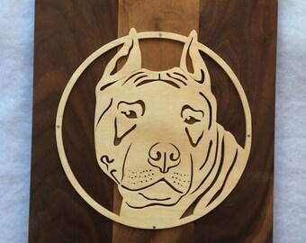 Dog Picture - Pitbull Dog - Pit - Dog Silhouette - Dog Breed Decor - Pitbull Decor - Wood Dog Art - Pet Loss - Pet Memorial - Pet Silhouette
