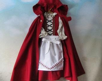 Girl's German, Bavarian Dirndl, Apron & Cloak: Gretel, Heidi, Red Riding Hood - All Cotton Fabric, Size 2, 4 - Ready To Ship Now