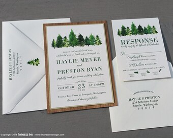 Rustic Evergreen Tree Forest Woodgrain Wedding Invitation Sample | Flat or Pocket Fold Style