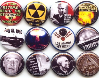 "Robert OPPENHEIMER Atomic A Bomb Nuclear Bomb Physics theoretical physicist Set of 12 Pinback 1"" Buttons Badges Pins set A"