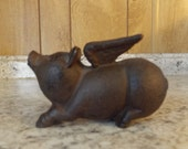 Vintage Cast Iron Flying Pig / Piggy Still Coin Bank