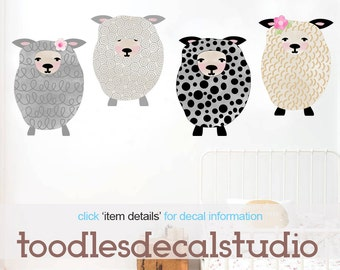 Sheep Wall Decal for Girls, Reusable Fabric Wall Decals, Set of 4 Sheep, Ready to Hang Girls Art, Sheep Nursery, Kids Sheep Fabric Stickers