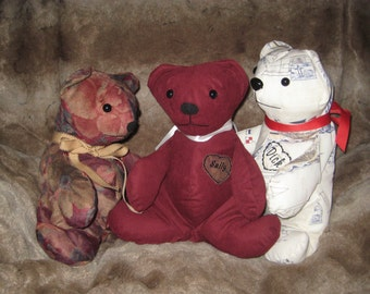 Memory Bear, custom made, 10 1/2 inches, keepsake of loved one, personalized