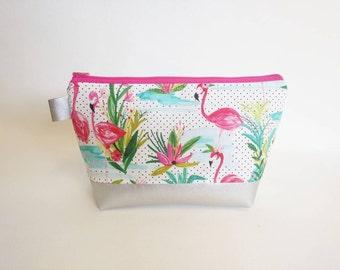 Flamingo palm tree makeup bag with metallic silver bottom