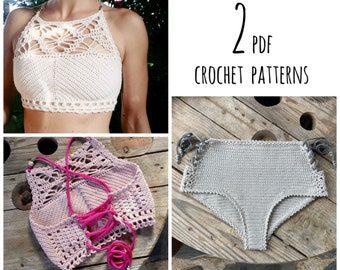 PDF-files for 2 Crochet PATTERNS, Luna cropped Crochet Top and Aliyah highwaist Bottom, Sizes XS-L