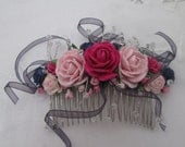 Hair comb - silver with pink and navy flowers, crystal beads, navy ribbon