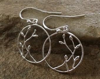 Willow Earrings in Sterling Silver -Willow Hoop Earrings in Sterling