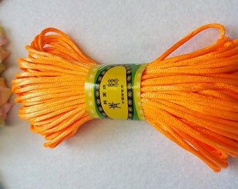 20M, 2mm dark orange satin rattail cord trim string