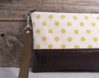 Wristlet / Clutch made in a linen fabric with gold dots  paired with faux leather , Great large size , everyday bag, detachable strap