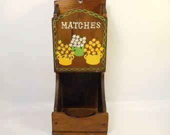 Vintage Wood Match Box Holder / Wall Mount / Floral Design / Japan Original Label / Scissors, Storage, Caddy