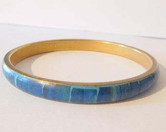 Vintage Bracelet Inlaid Turquoise - Glass - Stone Jewelry Brass Setting