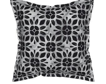 Black Floral Pillow, Geometric Throw Pillows, Decorative Pillows, Unique Throw Pillow, Geometric Cushion, Floral Throw Pillow, Toss Pillow