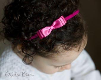 Little Hot Pink Baby Headband - Flower Girl Headband - Little ELLA Hot Pink Satin Bow Handmade Headband - Baby to Adult Headband