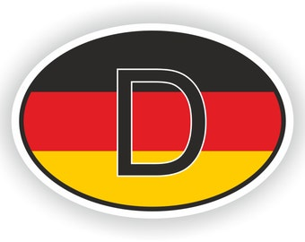Germany Country Code Oval Sticker with Flag for Bumper Laptop Book Fridge Motorcycle Helmet ToolBox Door PC Hard Hat Tool Box Locker Truck