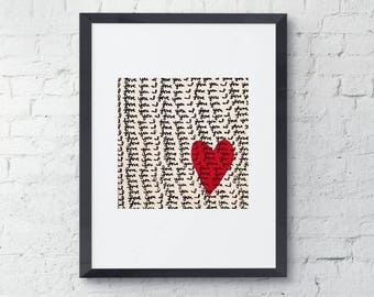I love you print, black, white, red heart, modern wall decor from original painting, nursery room decor