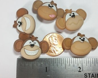 5 Monkey See, Monkey Do Novelty Buttons  - Priced to Sell