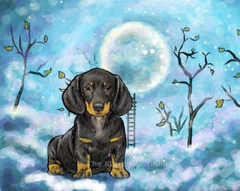 Dachshund Print(8x10 inch, 12x16 inch, 16x20 inch Paper or Canvas prints) Black and Tan Art Luster Dogs Pets Evening Night sky Stars Moon