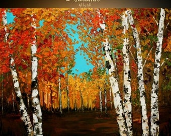 "2 DAY SALE HUGEOil Landscape painting Abstract Original Modern 48""X36"" palette knife Birch Trees  impasto oil painting by Nicolette Vaughan"