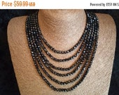 Reserved Vintage Multi 6 Strand  Black Collectible Necklace - Black Tie High End Glass Statement Jewelry