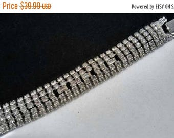 Now On Sale Vintage Rhinestone Bracelet - Chunky Wide 1950's Bridal Wedding Fashion Jewelry - Hollywood Regency