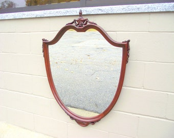 Antique Shield Mirror Carved Mahogany Urn with Drapery Shoulders - Solid Wood Framed Wall Dresser Bureau Mirror - 1920s Federal Style