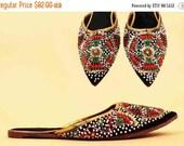 SALE 25%OFF 60s 70s Vtg Silk Velvet & Leather Beaded GENIE Ethnic Pointy Slide Mules / Slipper India Maltese Cross Detail Boho Hippie 9 8.5