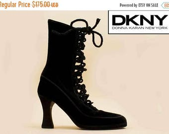 25% OFF 1DAY SALE 90s Vtg Black Dkny Silk Velvet + Braided Leather Lace Up Corset Ankle Boots / Victorian Mod Goth Runway Heels 6.5 Eu 36.5
