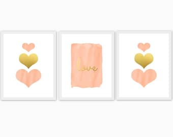 peach and gold baby girl's nursery art, children's room, watercolor, hearts, love, set of 3, mix and match, custom colors, arrows