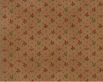 PUMPKIN PIE  PRINTS~by the 1/2 yd~Moda~Laundry Basket quilts~42285-13~tossed red orange leaves on acorn tan