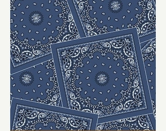 15% off thru May1st AMERICAN COWBOY western blue bandana cotton print by the yard Windham Cotton Fabric 39673-5
