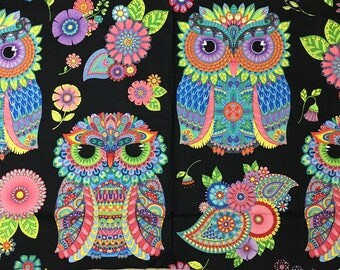 fabric panel  NIGHT BRIGHT -Bright fun OWLS on black- by Wilmington Fabrics- 24 by 44 inches-77601-964