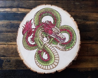 Dragon Pearl Pyrography Wood Burning Chinese Dragon Asian Mythology Snake Art Decoration Japanese Good Luck
