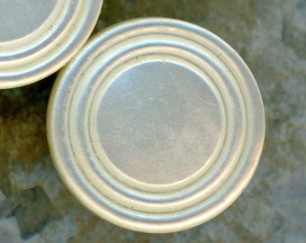Set of 5 Antique Carved Mother of Pearl Shell Buttons ~ 1/2 inch 13mm ~ MOP Sewing Buttons ~ Brass Wire Shank