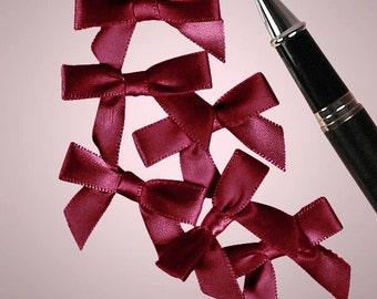 "25ct. Tiny Burgundy Wine Satin Bow Ties 1"" x 1-3/8"" Craft Supply Gift Box Decoration (FREE SHIPPING!)"