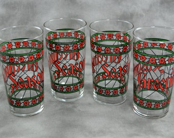 Red and Green Seasons Greetings Christmas Tumblers / Drinking Glasses