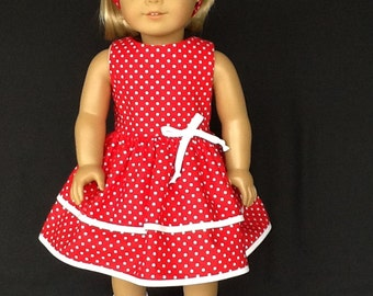 18 inch doll dress and headband. Fits American Girl Dolls. Red dotted ruffled dress.