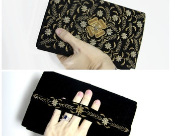 1940s Velvet Embroidered and Beaded Clutch