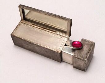 Silver lipstick Case Italian Antique 800 Silver
