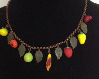 Glass Fruit necklace with Celluloid Leaves