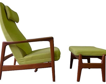 TEAK Mid Century Modern RECLINING LOUNGE Chair + Ottoman by Dux